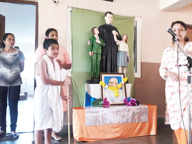 Don Bosco Odxel Honours Bapu on his Birth Anniversary