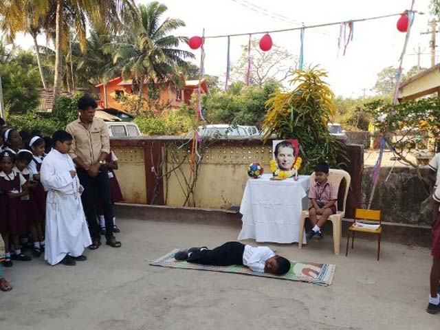 Celebrating the Feast of Don Bosco, at the Dabolim School